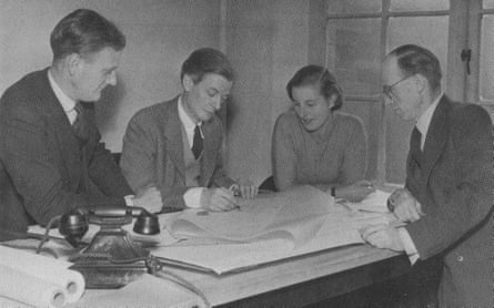 Rosemary Stjernstedt with fellow architects in the LCC Housing Division in 1950.