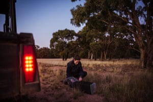 Field and information officer Sheryl Nettleton sets an eastern quoll trap before nightfall