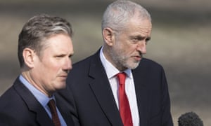 Corbyn's stance puts him at odds with the shadown Brexit secretary, left.