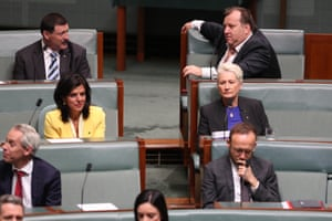 Julia Banks, Dr Kerryn Phelps and Adam Bandt from the cross bench vote with the opposition during a motion
