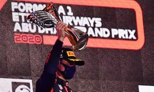 Max Verstappen celebrates winning the Abu Dhabi Grand Prix
