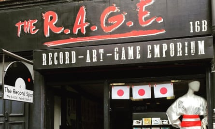 Exterior shot of shopfront and sign for The R.A.G.E record shop in Dublin, Ireland.