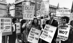 Campaigners for withdrawal from the Common Market in 1975. Britain voted to stay in by a large majority.