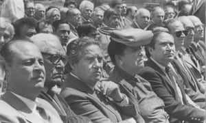 Left to right; Rufino Tamayo (in glasses), Octavio Paz, Olga Tamayo and Homero Aridjis, representing the Group of 100 at the official closing of the Loreto and Peña Pobre paper mill's cellulose plant in Mexico City on March 17, 1986.