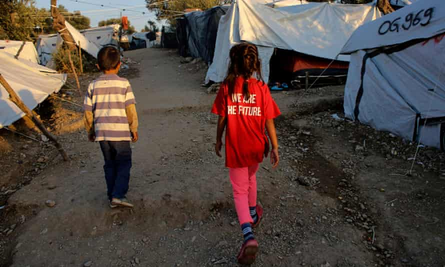 Child refugees at a camp in Moria, Greece