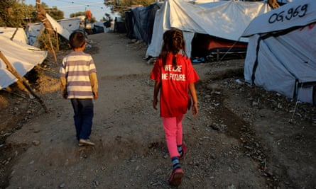 A refugee camp in Moria, Lesbos