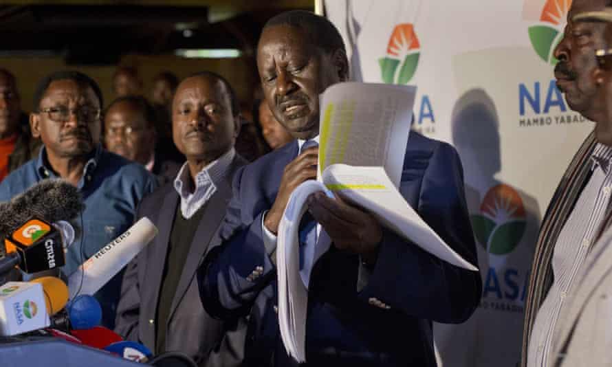 Raila Odinga, the National Super Alliance coalition leader, addressing a press conference