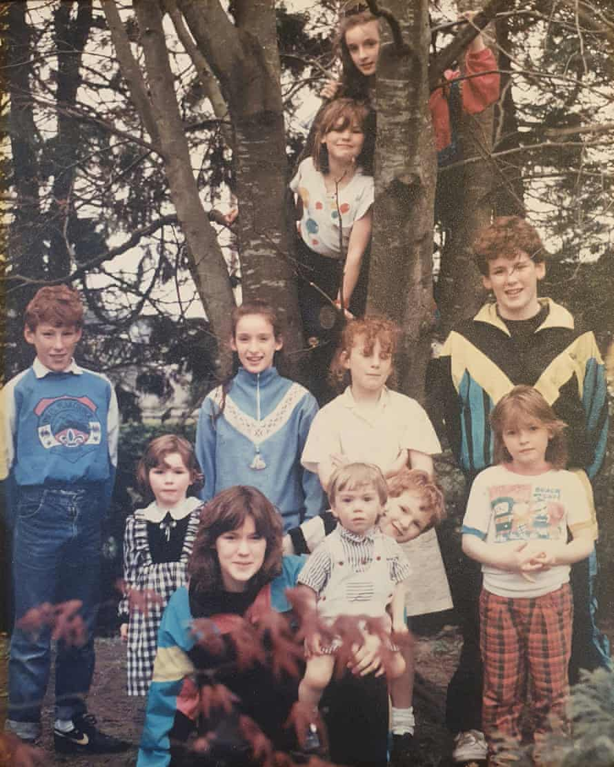Family tree: the author and his 10 siblings in 1990. Séamas is looking over Conall's shoulder.