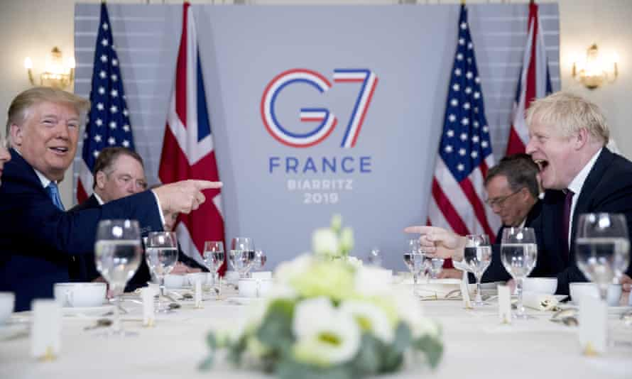 Donald Trump and Boris Johnson at the G7 summit in Biarritz, France, August 2019.