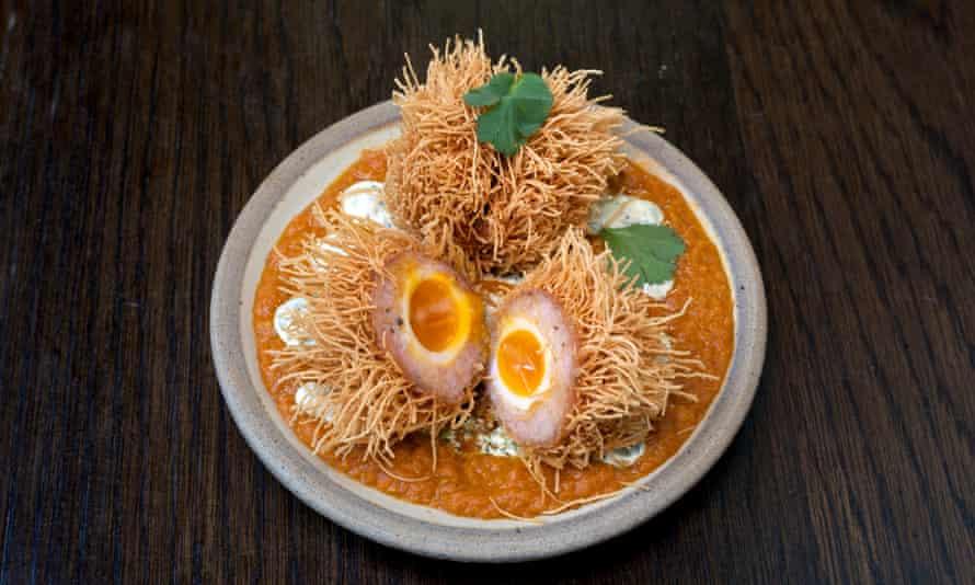 'It arrives looking like a toasted sea urchin': scotch egg.