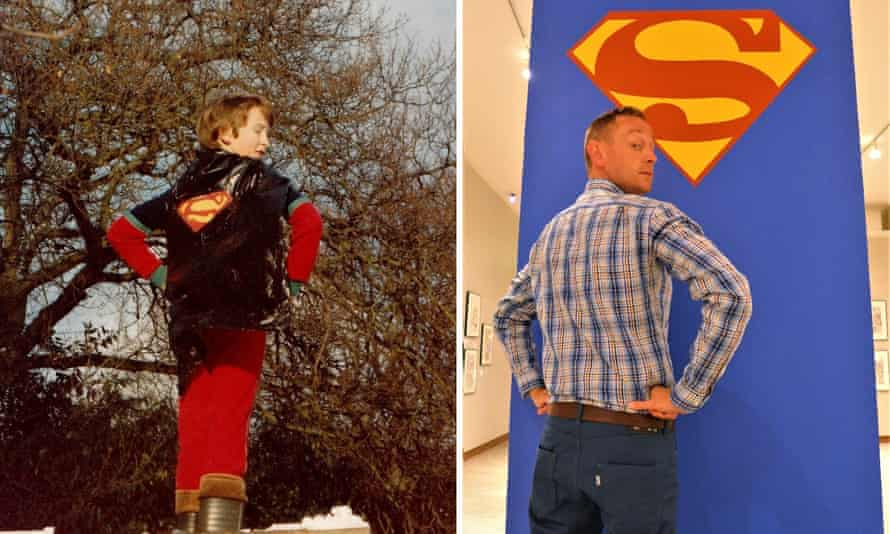 Mark O'Connell as a child and now with Superman logo.