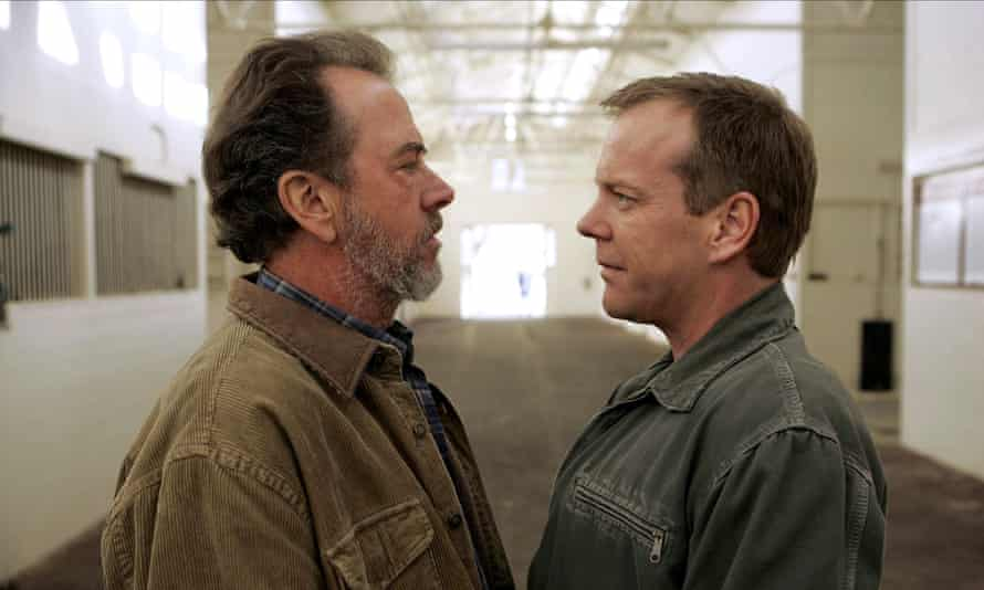 Face off ... Gregory Itzin and Kiefer Sutherland as disgraced president Charles Logan and Jack Bauer.