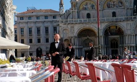 empty restaurant in St Mark's Square, Venice