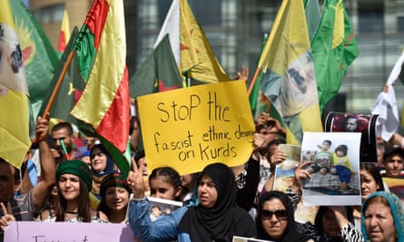 Kurds protest at the United Nations building in Beirut, Lebanon, on 11 October 2019 against Turkey's attacks on Syria.