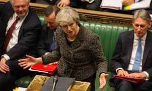 May speaking in the House of Commons. She is due to give a warm speech to Republicans before meeting Trump.