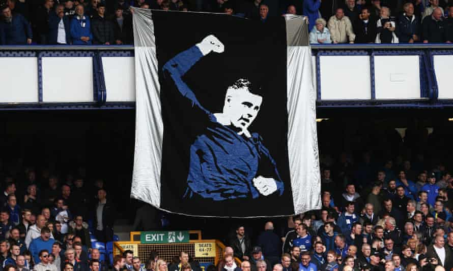 The Everton fans display a Ross Barkley banner.