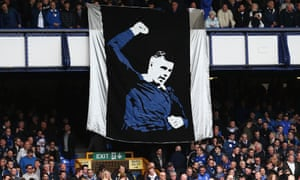 A Ross Barkley banner is unveiled during Everton's Premier League match against Burnley at Goodison Park on 15 April.