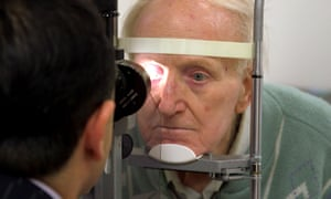 A cataract patient is examined at the Manchester Royal Eye hospital.