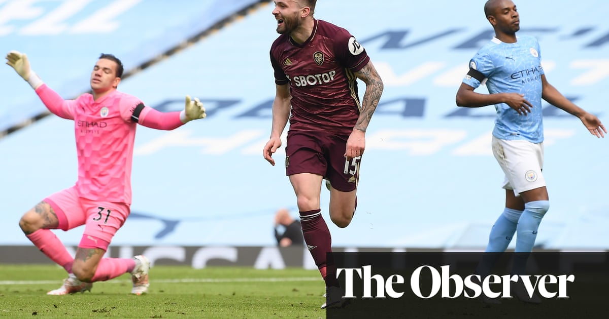 Stuart Dallas breaks late for winner as 10-man Leeds stun Manchester City