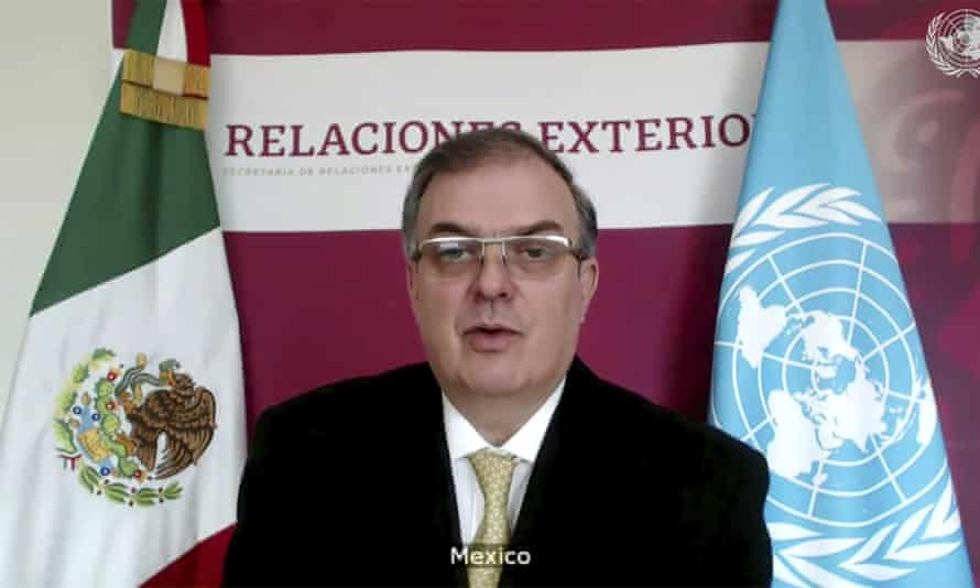 Mexico's foreign minister, Marcelo Ebrard, speaks during a UN security council high-level meeting on Covid-19 recovery focusing on vaccinations.
