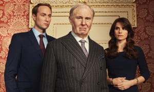 Tim Pigott-Smith as King Charles III, with Oliver Chris as Prince William and Charlotte Riley as Kate Middleton