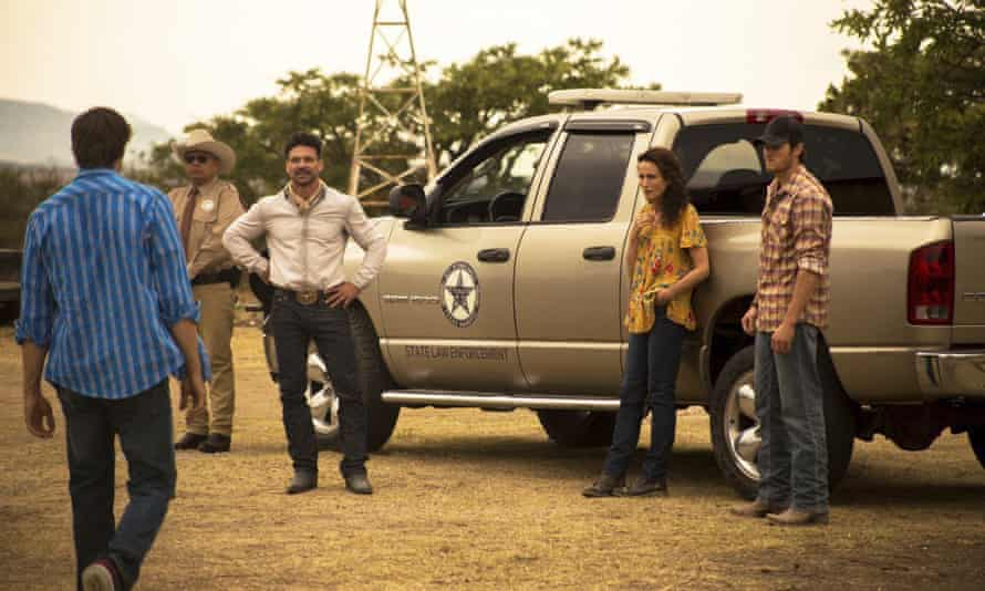 The moral education of a gringo … l-r, George Lopez, Frank Grillo, Andie McDowell and Jake Allyn in No Man's Land.