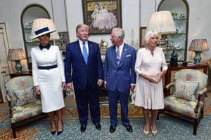 The Prince of Wales and Duchess of Cornwall greet the presidential couple