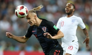 Croatia's Domagoj Vida heads the ball