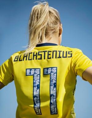 Sweden's specially designed kit includes a collage of some of the country's female role models in the numbers.