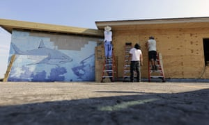 The rebuilding effort in Port Aransas, Texas. The commerce department said the storms probably suppressed business activity in areas including oil and gas extraction.