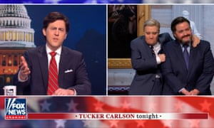 """Saturday Night Live's Alex Moffat as Tucker Carlson, Kate McKinnon as Lindsey Graham, and Aidy Bryant as Ted Cruz during the """"Second Impeachment Trial"""" Cold Open on Saturday, February 13, 2021."""