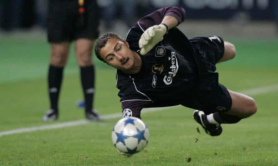 Jerzy Dudek makes a save in the penalty shootout at the end of the 2005 Champions League final in Istanbul