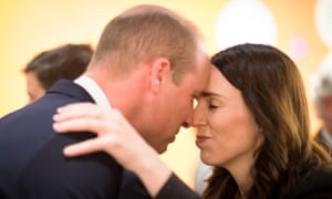 Prince William, Duke of Cambridge, is greeted by New Zealand prime minister with a hongi, a traditional Māori greeting, during his visit.