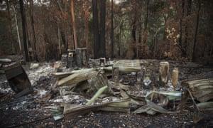 A destroyed home is seen one month after a bushfire swept through Binna Burra, Queensland
