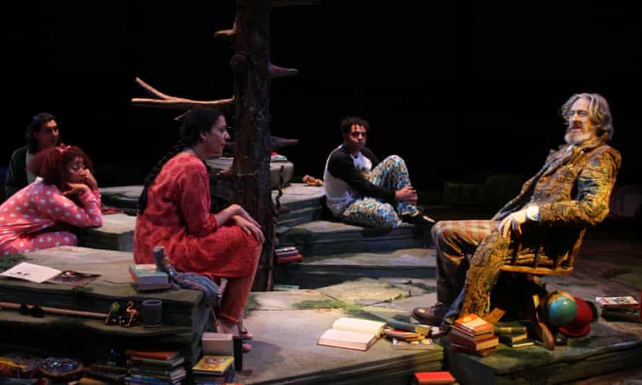 Are you sitting comfortably? … Richard Bremmer as the Story Giant (right), with Everyman Company members Tom Kanji, Melanie La Barrie, Asha Kingsley and Elliott Kingsley.