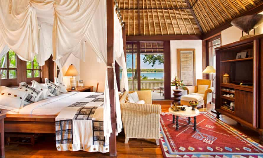 A beachside bedroom at the Oberoi Beach Resort.