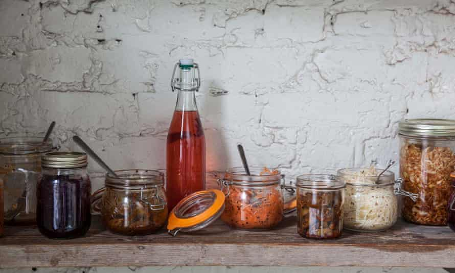 A pantry of fermenting vegetables