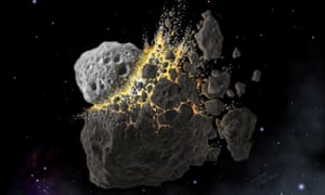 An artist's impression of the giant asteroid collision near Mars that is believed to have taken place about 470 million years ago, producing dust that led to an ice age on Earth.