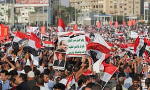Pro-Sisi supporters in Nasser City, Cairo, on Friday.