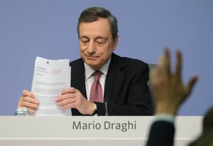 Mario Draghi, President of the European Central Bank, preparing to answer a reporter's question following a meeting of the ECB governing board on September 12, 2019 in Frankfurt.