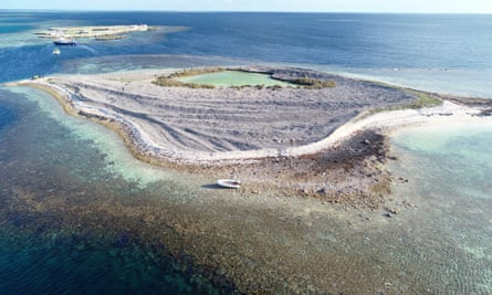 The pair allegedly used an inflatable dinghy to get to Burton Island, Western Australia after their yacht ran aground on a remote reef.