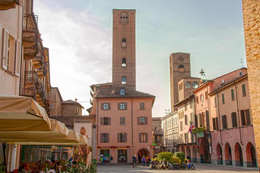 The square and cathedral in Alba, Italy