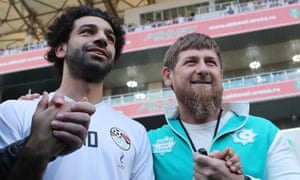 Mohamed Salah is pictured with the Chechen leader Ramzan Kadyrov at Egypt's World Cup training base in Grozny on 10 June.