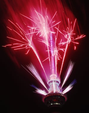 A fireworks display is launched from the Auckland Sky Tower, New Zealand
