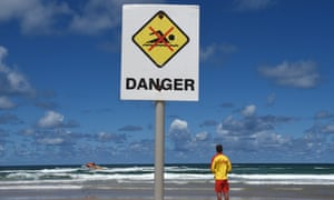 A surf rescue boat searches Shelly Beach near Ballina in February after a surfer was killed by a shark