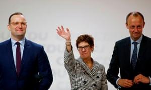 Annegret Kramp-Karrenbauer seen at a CDU congress in 2018 with Jens Spahn (L) and Friedrich Merz
