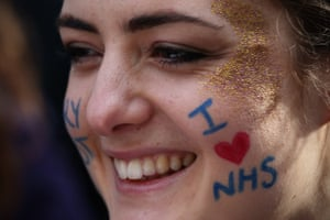 A student nurse takes part in Saturday's demonstration.