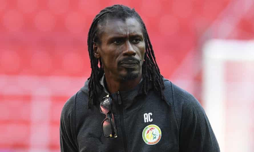 Senegal's head coach Aliou Cissé attends a training session at the Spartak Stadium.