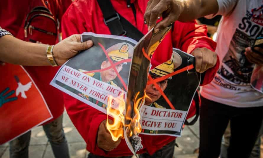 Burmese migrants protest in Thailand