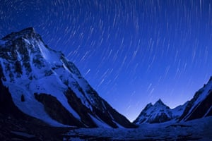 K2 mountain captured on a clear night just before sunrise